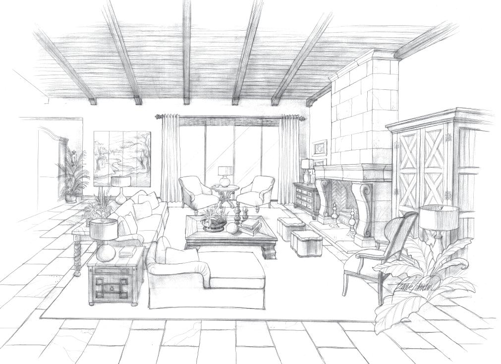 Interior design drawings frank pitman designs for Interior designs sketches